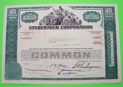 1960s STUDEBAKER CORP. STOCK CERTIFICATE Green <100 Shares ORIG'L Cancelled XLNT