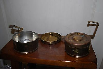 Vintage Lunchbox Indian Brass Handcrafted 2 Compartment Tiffin Lunch Box India