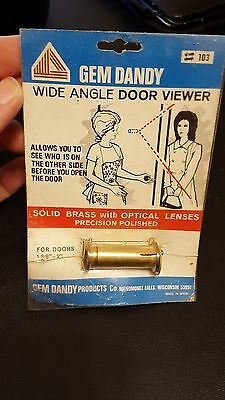 NOS Solid Brass Door Peephole Wide Angle Door Viewer GEM DANDY Co Menomonee Wis