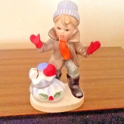 Napco Christmas Collectible - Boy With A Heavy Bag Of Gifts
