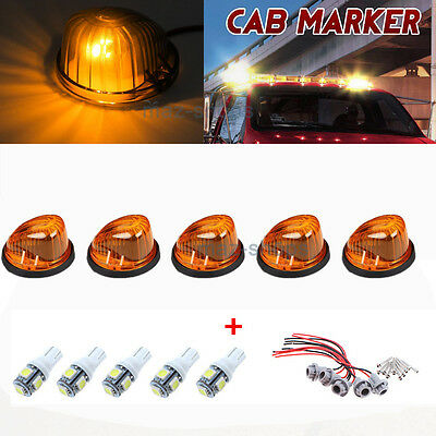5Pcs Roof Top Cab Marker Round Amber Lens+ White Lights For 1973-1987 Chevy/GMC
