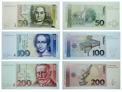 Set of 3pcs Germany Banknotes 200, 100, 50 Deutsche Mark 1989 - 1991 NOT REAL
