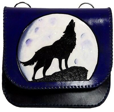 Blue Wolf Moon Leather Belt Pouch / Bag Hand Made & Painted LARP MADE TO ORDER