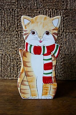 Cat Square Ceramic Vase Takahashi Made in Japan to Hang on Wall or Sit on Table