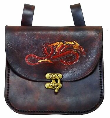 Brown Red Gold Dragon Leather Belt Pouch Handbag Hand Made LARP MADE TO ORDER