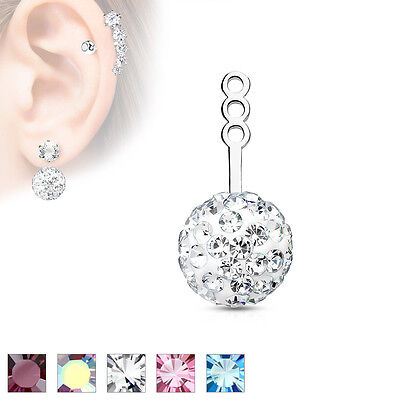 Pair Of Rhodium Plated Brass Crystal Paved Ball Earring Cartilage Add-On Dangles