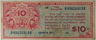 Series 471 $10 Military Payment Certificate Item#A5091