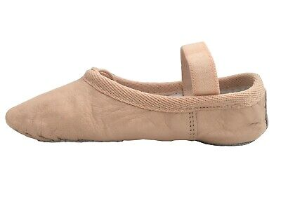 Ballet Leather Shoes Pink Full Sole with Elastics