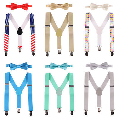 Boy Bow Ties Suspenders Birthday Outfit for Baby Toddler Kids Boys Wedding Party