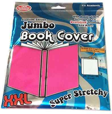 "JUMBO BOOK COVER XXL Super Stretchy Washable Pink Oversized Books 10"" x 15""  NEW"