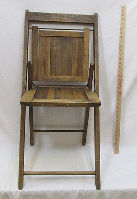 Antique Wooden Folding Chair Wood Fold Seat Patio School 1890 Original Stain 38""