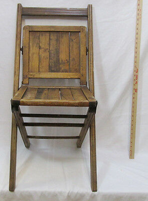 Antique Wooden Folding Chair Wood Fold Seat Patio School 1893 Original Stain 39""