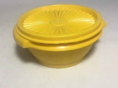 Vintage TUPPERWARE Yellow Sheer Bowl 1323-11 with Sunburst Lid 812-42