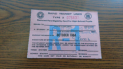 New York City NYC Transit Subway Vintage Student Pass Before Metrocard 1984 Oct