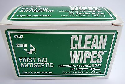 ZEE 0203 Clean Alcohol Wipes Sterile First Aid Antiseptic QTY 29 Boxes of 50 EA
