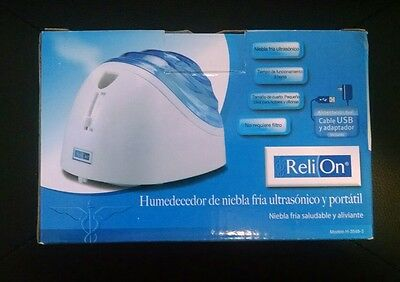 NEW ReliOn Portable Ultrasonic Cool Mist Humidifier USB Cable & Adapter Travel