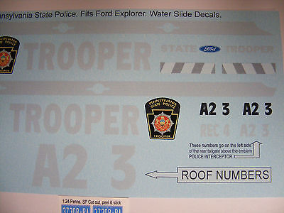 Pennsylvania Highway Patrol 1:24 Water Slide decal 1:24 Ford SUV Interceptor NEW