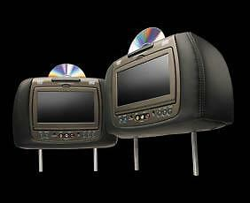 """New Invision Dual Headrest DVD Entertainment System 7"""" Rev02 Black Charcoal"""