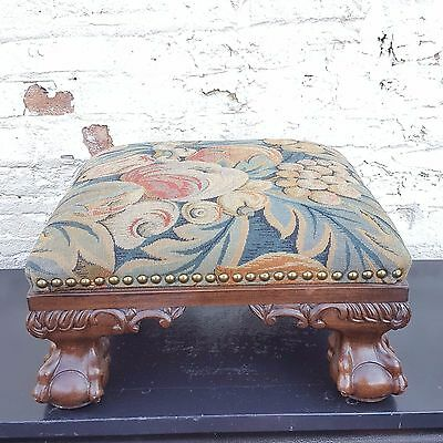 Antique Queen Anne Style Carved Ball and Claw Foot Tapestry Nailhead Footstool