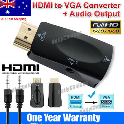 VGA to HDMI Female to Male Video Adapter Cable Converter with Audio HD 1080P