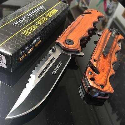New Tac-Force Brown Wood Spring Assisted Rescue Folding Pocket  Knife TF-809WD