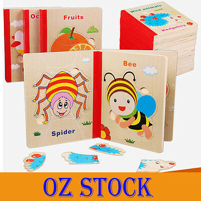 AU Wooden Baby Kid Educational Puzzle Baby Book Vegetables Fruits Wooden Toys