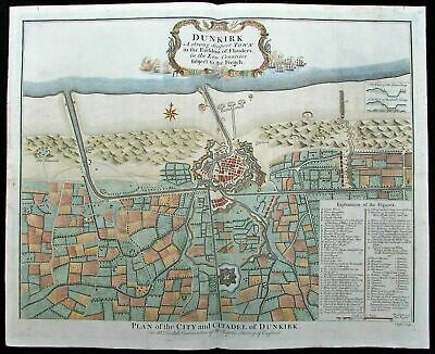 Dunkirk France Normandy D-Day WWII c.1740 Basire antique color map city plan