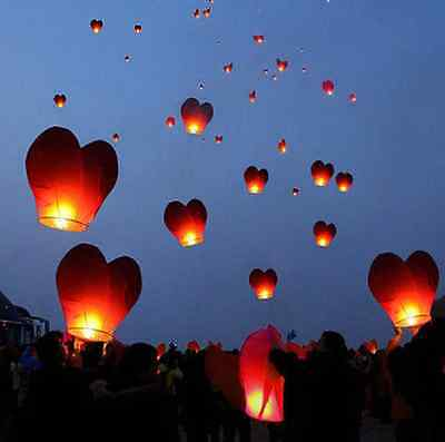 China Kongming Heart Paper Sky Fire Lantern Fly Light Balloon Wishes lamps