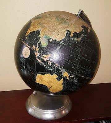 "Wonderful Vintage 1949-1953 Weber Costello 10"" Black World Globe Chrome Stand"