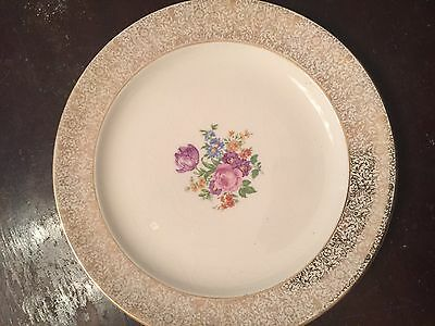 Antique Fine China Paden City Pottery USA Gold Floral Plate Dish 7 1/2 inch