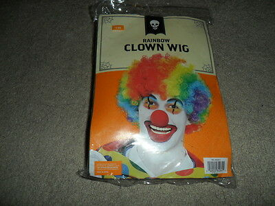 Rainbow Multi Color Clown Wig Costume Accessory NEW