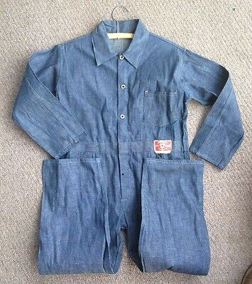 Vintage 30's 40's Star Union Overall Brand Denim Coveralls Never Worn Deadstock