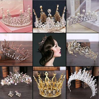 Sparkling Vintage Wedding Bridal Tiaras Rhinestones Crystal Baroque Crowns