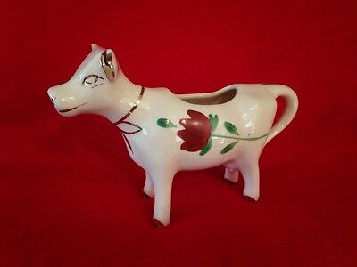 "8 "" Vintage Ceramic Cow creamer with red flower/gold trim"