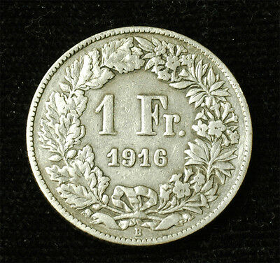 1916 Switzerland silver 1 Franc Free S&H
