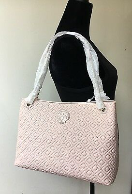 cfc994a7c89 NWT TORY BURCH Marion Quilted Center Zip Tote Shoulder Handbag Light ...