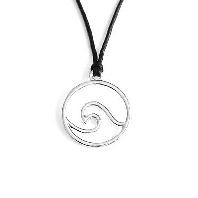 Surf Wave Round Charm Pendant Choker Necklace with Black Cord