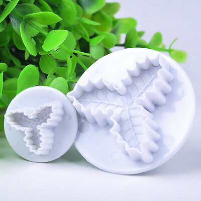2X Holly Leaf Cake Cookie Sugarcraft Fondant Decorating Plunger Cutters Mould UK
