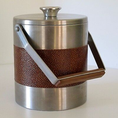 Textured Vinyl & Steel Ice Bucket with Handle & Insulated Liner, Japan c.1970s