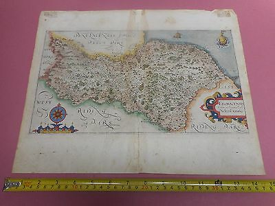100% Original North Yorkshire  Map By Saxton Hole  C1610 Scarce