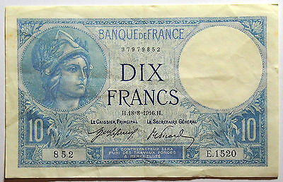 1916 France - 10 Francs Banknote - Very Fine condition - good paper for age