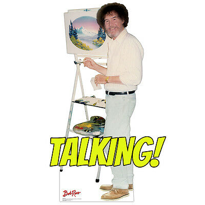 BOB ROSS Talking CARDBOARD CUTOUT Standup Standee Poster The Joy of Painting F/S