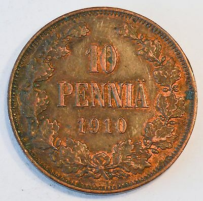 Finland/Russia 1910 10 Pennia XF With Red Mint Luster