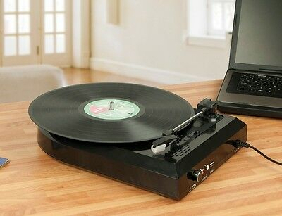 Vinyl USB Turntable Record Player Speakers Convert LPs to MP3 Portable 3 Speed