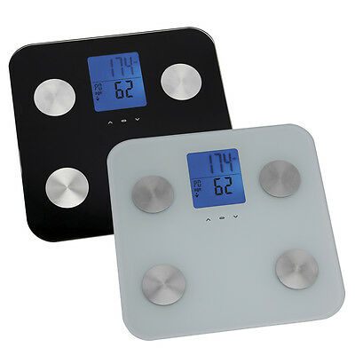 Health Plus LCD Body Analyser Scales Weight Body Fat Muscle BMI in White Black