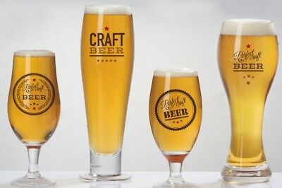 Set of Four Craft Beer Glasses With & Without Logo 2 Pint 2 Half Pint 4 Pack