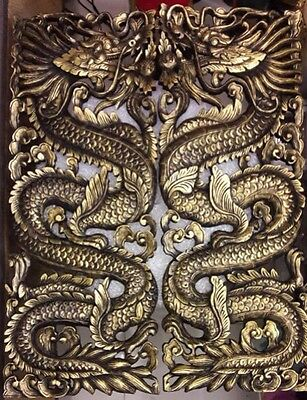 Art Thai Wood Teak Carving Grave Dragon Handcrafted  Handmade Culture For Show