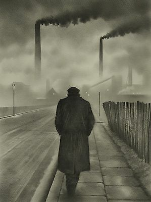Northern Art print from Dave Hartley original drawing Grimshaw style Industrial