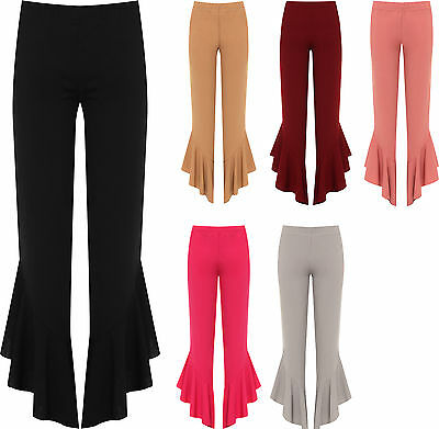 Plus Womens Flared Frill Asymmetric Hem Plain Trousers Ladies New Stretch Pants