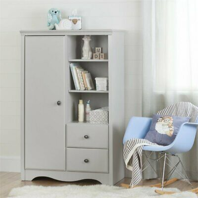 South Shore Angel 2 Drawer Armoire in Soft Gray